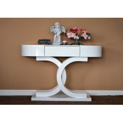 Consola mobilier hol si living , lemn si mdf , alb lucios , sertar pentru depozitare mici obiecte.