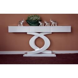 Consola mobilier hol sau living, realizata din lemn si mdf , cu 3 sertare pentru depozitare mici obiecte, nuanta alb lucios.