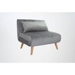 Fotoliu Extensibil Catifea Gri Lounge Premium Velvet