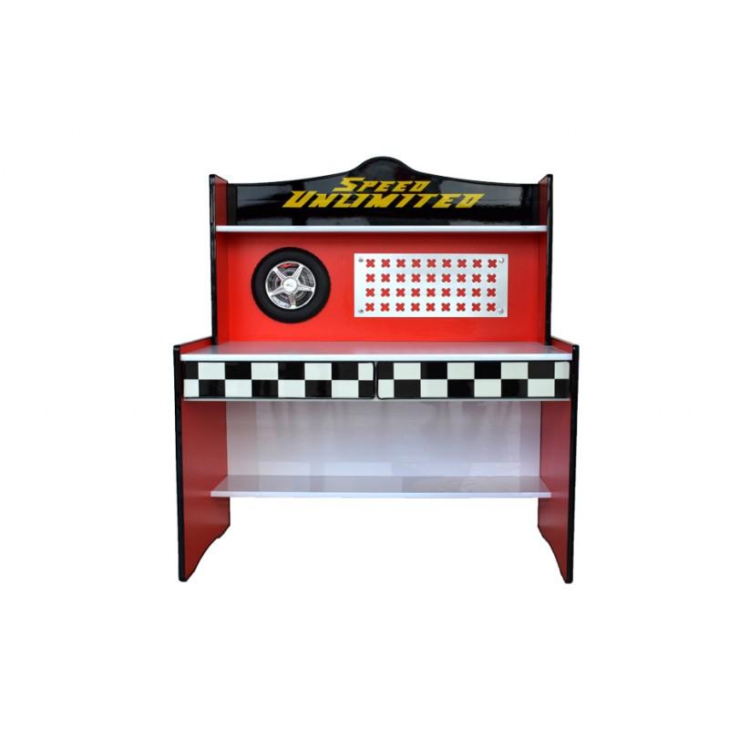birou /masa de lucru copii material mdf rosu cu sertare