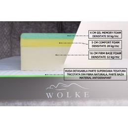 saltea cu spuma de memorie si gel racitor inaltime de 25 cm husa detasabila material textil fibra naturala