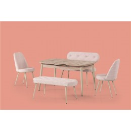 set masa cu bancheta si scaune pentru living sau bucatarie