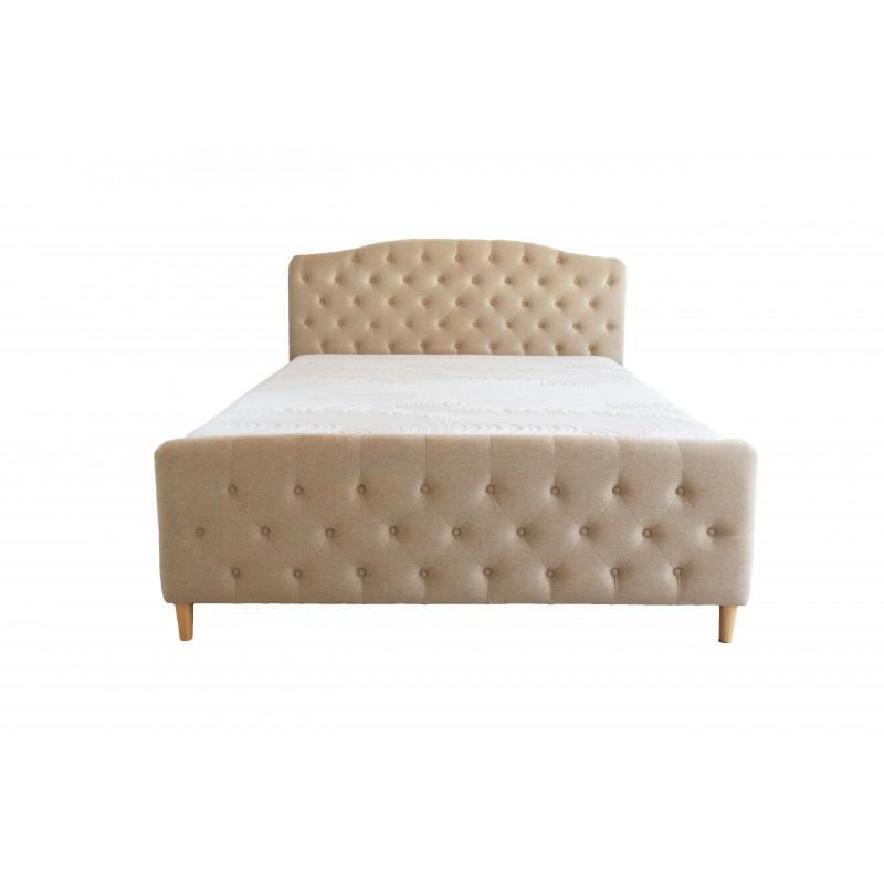pat tapitat material textil , cu somiera de tip lamelar inclusa in pret ce permite saltea de 160x200 cm, nuanta bej .