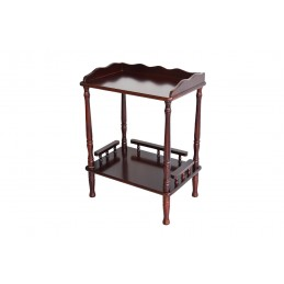 suport sau raft decoratiuni , ideal pentru living sau hol , nuanta maro lucios , realizat din lemn.