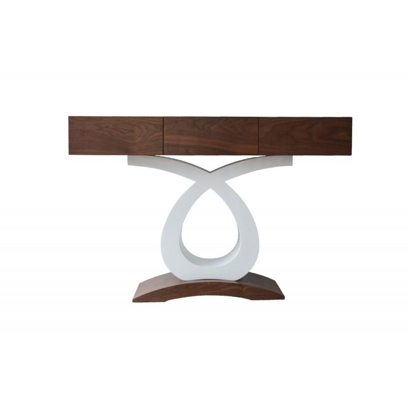consola mdf cu design modern , nuanta maro crem , piesa de mobilier pentru hol sau living.